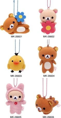 rilakkuma. I want the one on the bottom left!!! The cute bunny one~ >w<