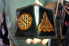 Wallet / Men / Leather / Hand Carved and Tooled / Custom / Cred Card / Norse / Nordic / Knotwork / Hand Crafted / Celtic / Viking / Man, Men Leather And Lace, Tan Leather, Viking Knotwork, Celtic Tribal, Make Money Online Surveys, Viking Men, Leather Tooling, Tooled Leather, Man Men
