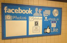 High School Bulletin Board Ideas Displays | We thought it would be fun AND fitting to do a social media theme.
