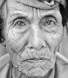 Illusion: This image of an elderly woman is the most detailed and realistic pencil drawing from Mark Stewart's art collection. The other drawings are also nicely done, but they look less photographic. See more hyperrealist art. (Image © Mark Stewart) http://illusion.scene360.com/art/29156/it-is-not-a-photo/