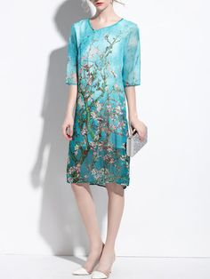 Aqua Floral Casual Midi Dress