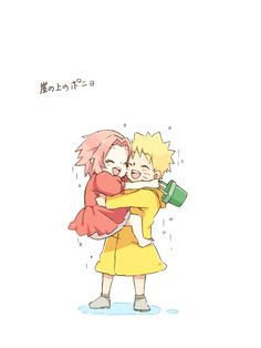 Naruto and Sakura_ version Ponyo_I dont love this couple but the fan art is so cute ^O^