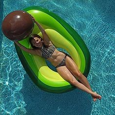 Flōtēz Inc. Giant Inflatable Avocado Pool Float Lounge x 3 Foot with Beach Ball Pit Food Pool Floats, Funny Pool Floats, Giant Pool Floats, Pool Floats For Adults, Big Pools, Cool Pools, Swimming Pools, Inflatable Float, Giant Inflatable