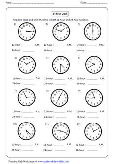 12 Hour And 24 Hour Clock Worksheets 24 Hour Clock Worksheets, 4th Grade Math Worksheets, Worksheets For Kids, Math Resources, Homeschool Worksheets, Printable Worksheets, Math Clock, Clock Games, Telling Time Activities