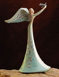 Peace and Faith Angel by Gina Freehill ~ Peace by Piece Polymer Clay Figures, Polymer Clay Art, Peace By Piece, Seraph Angel, Pottery Angels, Clay Angel, Angel Halo, Ceramic Angels, Bronze