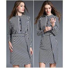 CHINA COLLAR STRIPE OL DRESS