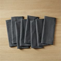 Free Shipping.  Shop set of 8 garment washed graphite napkins.   Both relaxed and refined, 100% cotton is specially soft-washed to achieve a luxe hand feel.