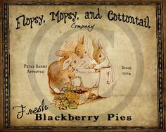 Primitive Vintage Peter Rabbit Flopsy Mopsy Cottontail Printable Jpeg DigitalFeedsack Logo Pillows Pantry Labels Hang tags Magnets Ornies by Starrmtnprims on Etsy https://www.etsy.com/listing/183164404/primitive-vintage-peter-rabbit-flopsy