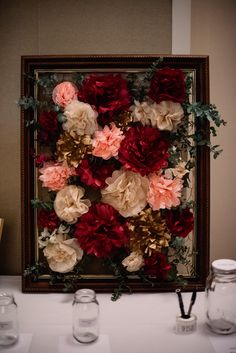 Photography: Trent & Jessie Photographers Place: Maitland Town Hall Vintage Antique Reception Wedding Romantic Fun Burgundy Jars Paper Tissue Flowers Pink Beige Dusty Burgundy Silver Gum Gold Natural Cream Peach Frame Chicken Wire Alternative Brown Timber