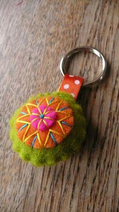 Colorful felt key chain pendant. $5.49, via Etsy.