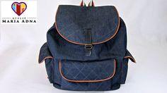 Bolsa mochila em jeans Roberta. Bolsa mochila em tecido com moldes. Fabric jeans backpack bag - YouTube