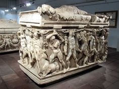 A Roman sarcophagus from 250-260 AD depicting the labors of Hercules in the Archaeological Museum, Konya.