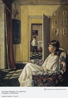 Mabel Pryde Nicholson, 'The Grange, Rottingdean' William Nicholson, Scottish Women, Gallery Of Modern Art, Paintings Famous, Perspective Art, Black And White Tiles, Vanishing Point, National Portrait Gallery, Art School