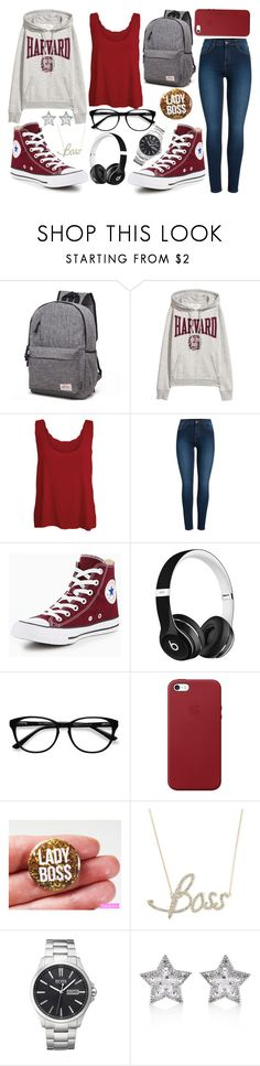 """""""School Outfit"""" by army-woman on Polyvore featuring WearAll, Pieces, Converse, Beats by Dr. Dre, EyeBuyDirect.com, Apple, Simone I. Smith, BOSS Hugo Boss, CZ by Kenneth Jay Lane and Hoodies"""