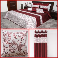 Bordowe komplety dekoracyjne do sypialni z ornamentem