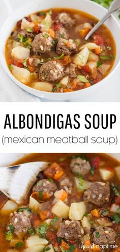 Albondigas Soup (Mexican Meatball Soup) – I Heart Naptime Albondigas soup is made with beef and rice meatballs, potatoes, vegetables, tomatoes and onions. It's super flavorful, hearty and the perfect dish to warm you up on a chilly day. Albondigas Soup Recipe Mexican, Mexican Meatball Soup, Mexican Meatballs, Mexican Soup Recipes, Best Soup Recipes, Beef Recipes, Cooking Recipes, Healthy Recipes, Mexican Desserts
