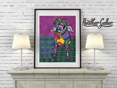 50% Off - BOXER Art - Angel Dog Art Print Poster of Painting Modern Art Print Poster of Painting Dog Art Heather Galler (HG206)