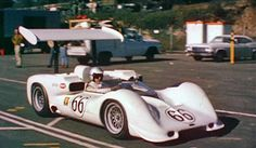 Jim Hall in his 2E at the 1966 Can-Am race at Laguna Seca. Chaparrals would finish 1-2. From a video frame.