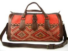 Kilim and Leather Duffle Travel Bag