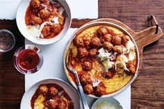 Comfortingly easy and absolutely tasty, here's 40 ways with the humble meatball that will make your evening. Miso Chicken, Pork Mince, Mince Meals, Sausage Meatballs, Meatball Recipes, Meat Recipes, Healthy Recipes, Cereal Recipes, Polenta