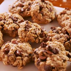 Chocolate banana oatmeal cookies are the most comforting thing you can make when it's cold out. Get the recipe at Delish.com. #delish #easy #recipe #banana #chocolate #oatmeal #baked #cookies #dessert #oats