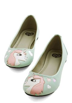 In Love with Unicorn Flat by T.U.K. - Mint, Casual, Quirky, Critters, Better, Print with Animals, Novelty Print, Spring, Fairytale, Pastel