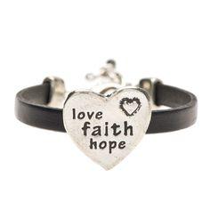 Love Faith Hope Pewter and Black Leather Bracelet