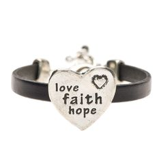 Love Faith Hope Pewter and Black Leather Bracelet