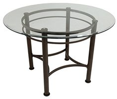 Impacterra Formosa Round Dining Table, Classic Bronze/Clear Glass
