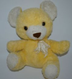 "Gund Teddy BEar Vintage Orange Tan Yellow 1976 Shredded Button Eyes 12"" Sitting #Gund"