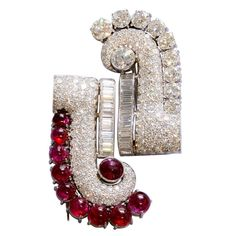 Art Deco Diamond and Ruby Double Clip Brooch