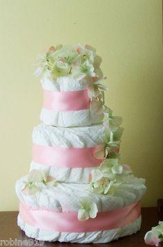Girls  Diaper Cake  Pink Hydrangea Baby Gift Baby Showers and Shower Centerpiece