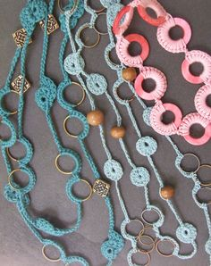 Crochet Jewelry based on wire, plastic hoops, and wooden beads