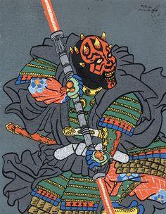 "fanwright: ""tiefighters: "" Ukiyo-e Stylized Darth Maul Created by Takao Nakagawa "" - Ukiyo-e Maul. Star Wars Poster, Star Wars Art, Cuadros Star Wars, Samurai Artwork, Graffiti, Darth Maul, Japanese Painting, Japanese Prints, Star Wars Characters"