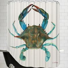 East Urban Home Crab Shower Curtain Curtains Shower Curtain