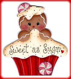 Sweet as Sugar Gingerbread Girl Christmas Clipart, Christmas Art, Christmas Projects, All Things Christmas, Vintage Christmas, Christmas Ornaments, Xmas, Gingerbread Decorations, Gingerbread Ornaments