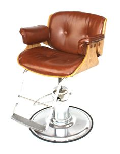 Vintage Original Koken Leather, Oak and & Chrome Barber Chair, circa 1982 ($925)