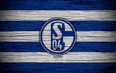 Download wallpapers Schalke 04, 4k, Bundesliga, logo, Germany, wooden texture, FC Schalke 04, soccer, football, Schalke 04 FC
