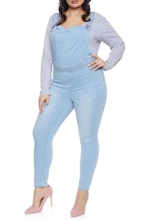 7b1935233637 Plus Size Almost Famous Denim Overalls - Blue - Size 24 Almost Famous