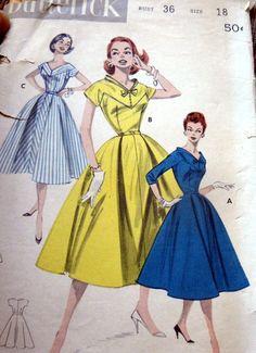 Lovely Vtg 1950s Dress Butterick Sewing Pattern 18 36 | eBay