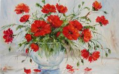 Stretched hand embellished textured PRINT on Canvas of Original Floral Painting By Marchella Red Poppies Romantic Vase