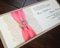coral and burlap wedding invitations - Google Search