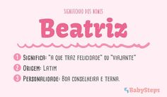 #Beatriz #babysteps #significado #bebés #escolher #nome #rapaz #menino Baby Girl Names, Baby Steps, Sons, Clip Art, Memes, Quotes, Nairobi, Wallpaper, Crafts