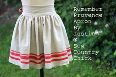Sew country chick: DIY and couture sewing: Remember Provence Apron Tutorial Sewing Blogs, Sewing Hacks, Sewing Tutorials, Sewing Crafts, Sewing Projects, Sewing Tips, Fabric Crafts, Craft Projects, Half Apron Patterns