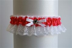 Hot Pink Satin Garter with White Lace