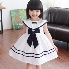 2016 New Girls Summer Sailor Collar Striped Dresses Baby Girls Sweet Party Dress Girls Cutton Dress with Bow Kids Brand (Mainland)) Girls Dresses Sewing, Girls Party Dress, Little Girl Dresses, Nautical Dress, Baby Dress Patterns, Sailor Dress, Dress With Bow, Summer Girls, Kids Outfits