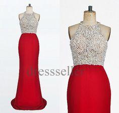 Custom Beaded Red Long Prom Dresses Fashion Evening Dresses Fashion Party Dresses Formal Evening Gowns Wedding Party Dress Celebrity Dresses on Etsy, $188.00