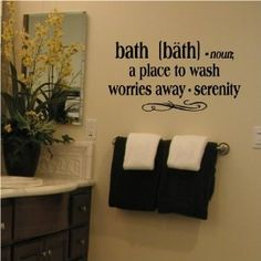 "Bath -noun a place to wash worries away - serenity 12.5"" H x 25"" W Vinyl Lettering Family Quote Wall Sayings Art Words Decal Sticker"