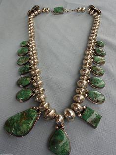 Orville Tsinnie (Navajo) green Royston turquoise necklace