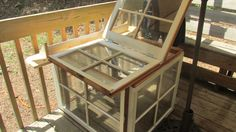 Greenhouse made from old windows using corner hardware and hinges. Green Houses, Old Windows, English Setter, Shutters, Restore, Repurposed, Restoration, Corner, Hardware